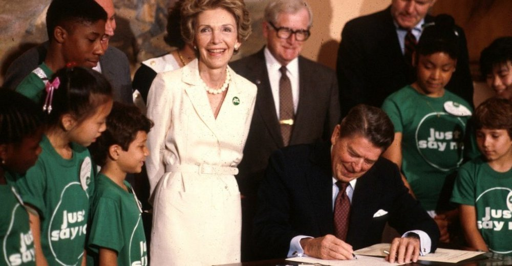 Nancy Reagan Lead the Just Say No Campaign to Battle the Destructive Effects of Drugs on Teens