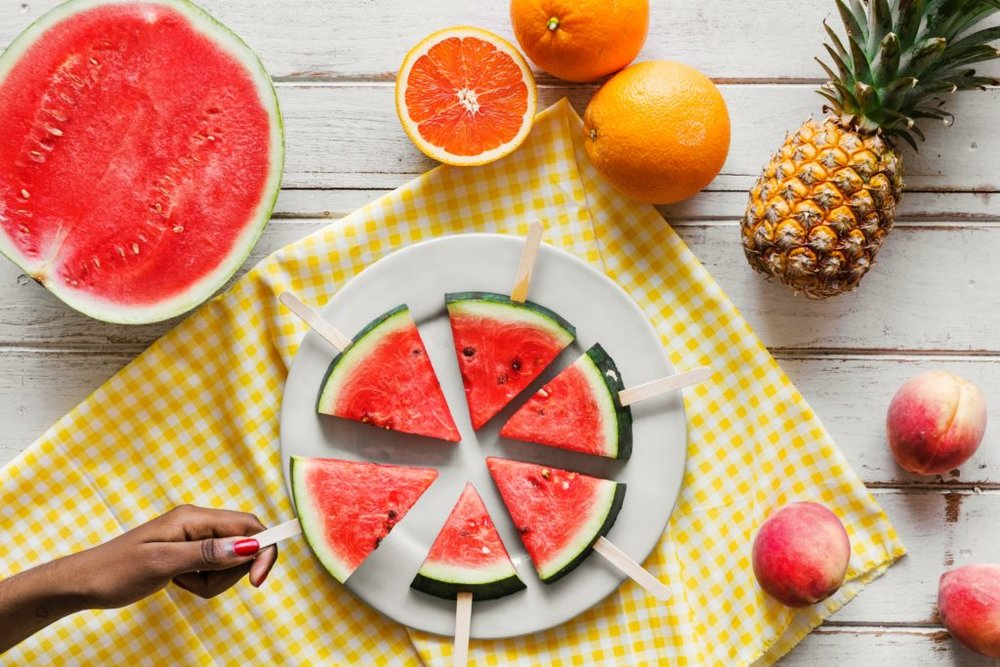 It's recommended to eat fruits and vegetables rich in water content like watermelon to keep yourself hydrated.
