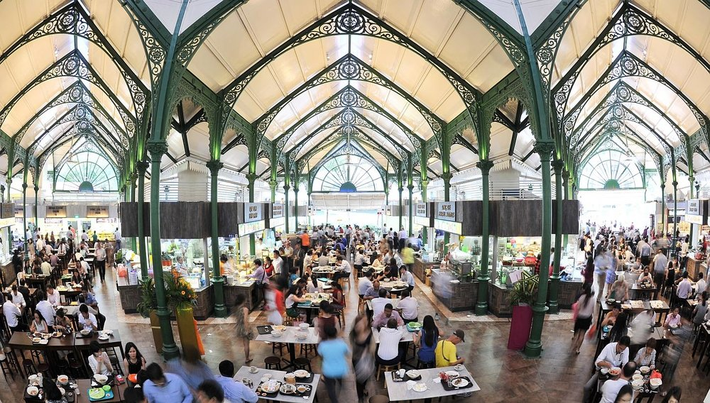 Just like Rachel's first night in Singapore, you can eat to your heart's content here at Lau Pa Sat while chatting with your friends.